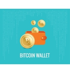 Bitcoin wallet with coin icons on the vector