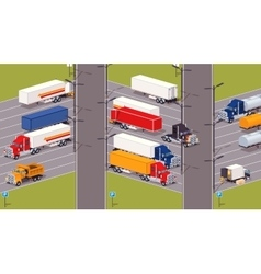 Heavy trucks parking lot vector