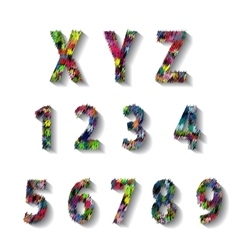 Multicolored carnival alphabet with numbers vector