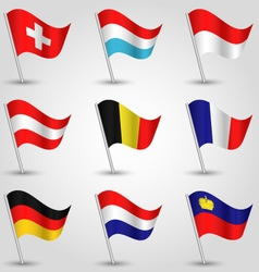 Set of flags countries of western europe vector