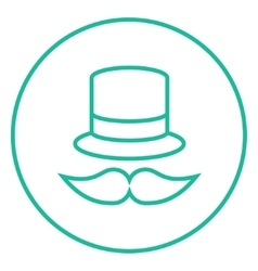 Hat and mustache line icon vector