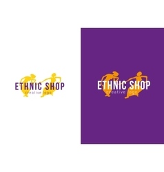 Logo ethnic store dancing girls vector