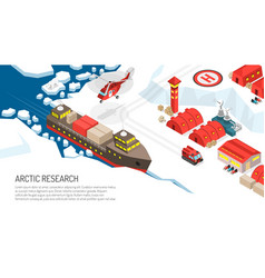 Arctic research polar station poster vector