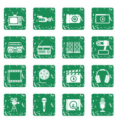 Audio and video icons set grunge vector