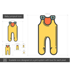 Baby jumpsuit line icon vector