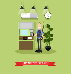 Bank security guard concept in vector
