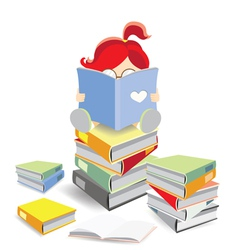 Bookworm sitting on a stack of books vector