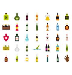 bottle icon set flat style vector image vector image