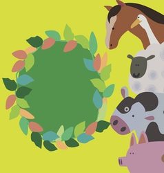 Card design with wreath and farm animals vector