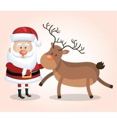 card santa claus big reindeer christmas design vector image vector image