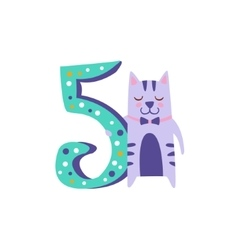 Cat Standing Next To Number Five Stylized Funky vector image vector image