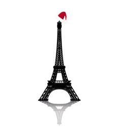 christmas eiffel tower vector image vector image
