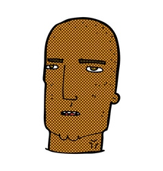 Comic cartoon bald tough guy vector