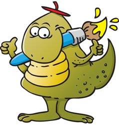 Dinosaur holding a paint brush vector