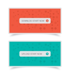 Download upload buttons with banners vector