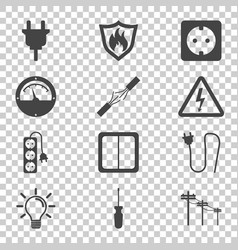 Electricity icon in flat style on isolated vector