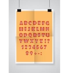 English alphabet twice a folded orange poster vector