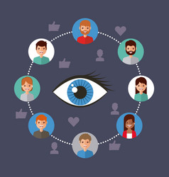 Eye view viral content people connection vector