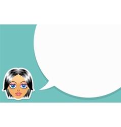 Girl face with speech bubble vector