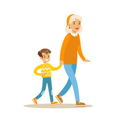 grandmother walking with boy holding hands part vector image