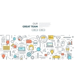 Great Team Horizontal Linear Concept vector image