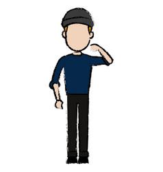 Hacker character standing wear cap pose image vector