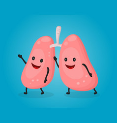 happy fun cute lungs flat cartoon vector image vector image