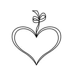 heart love drawing with ribbon icon vector image vector image