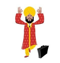 Hindu meditating indian businessman in turban vector