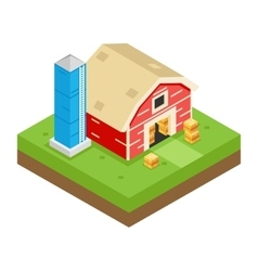 Isometric Barn Stack Storage Silo 3d Icon Symbol vector image vector image