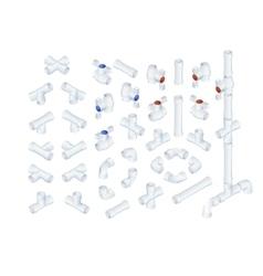 Isometric plumbing elements vector