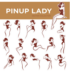 Large pinup lady poses collection for your logo vector