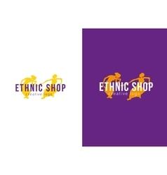Logo ethnic store dancing girls vector
