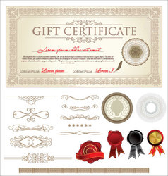 Ornate Vintage Certificate and Ornaments vector image