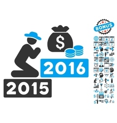 Pray For Money 2016 Flat Icon With Bonus vector image vector image
