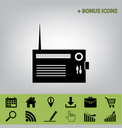 Radio sign black icon at vector