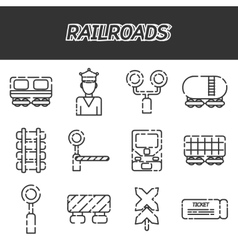 Railroads icons set vector