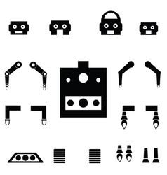 Robot parts icon set vector