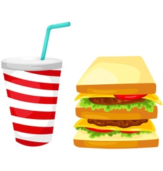 Sandwich with water drink vector