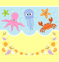 Sea animals cartoon background card vector