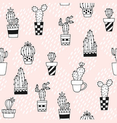 seamless pattern with cute cactus and hand drawn vector image vector image