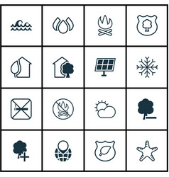 Set of 16 eco icons includes fire banned insert vector
