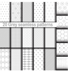 Set of 20 gray seamless patterns vector image