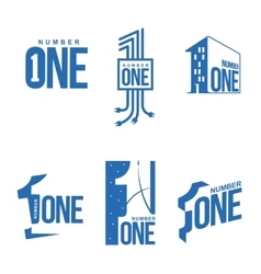 Set of blue and white number one logo templates vector image vector image
