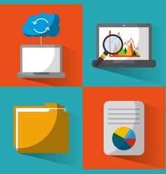 set of data base center server file document vector image