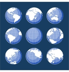 Set of nine globes vector