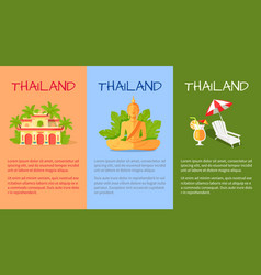 Thailand banner with traditional oriental signs vector