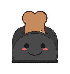 toaster with bread kawaii cartoon vector image