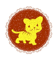 Vintage sign with cat vector