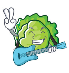 With guitar lettuce character cartoon style vector